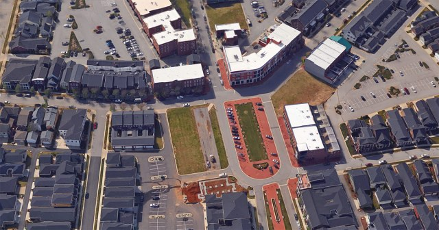 The downtown area of Norton Commons continues to be built out. (Courtesy Google)