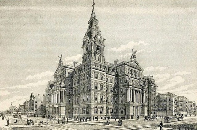An etching of the Louisville Customs House.