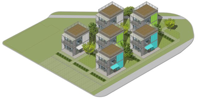 Axonometric site plan. (Foxworth Architects)