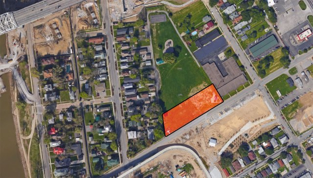 The redevelopment site marked in red. (Courtesy Google)