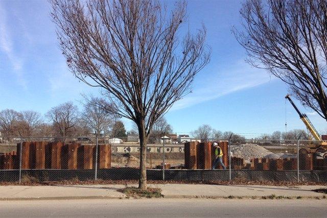 The Logan Street CSO Basin under construction in Smoketown. (Elijah McKenzie / Broken Sidewalk)