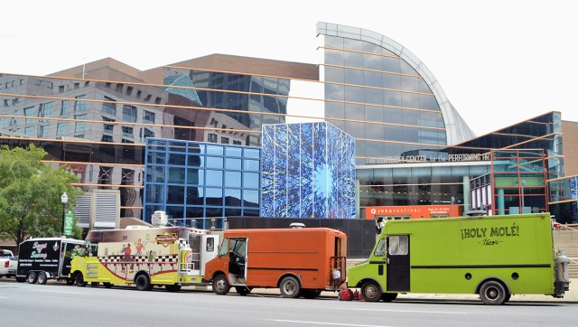 Food trucks in front of the Kentucky Center for the Performing Arts. (jpellgen / Flickr)