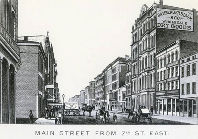 """Details of the pre-fire building are hard to find, but this is the block where it was located. A 19th century """"skyscraper"""" is seen on the right. (Courtesy UL Photo Archives - Reference)"""