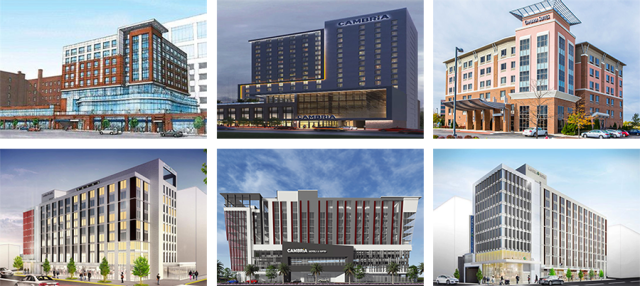 A variety of designs for larger Cambria Suites hotels in other cities. A local architect is designing our version, so it will likely look very different from these.