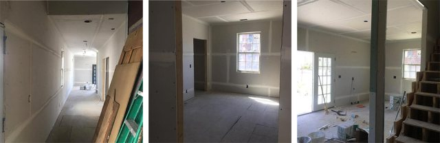 Completed drywall inside the house. (Melissa Gowan Photography)