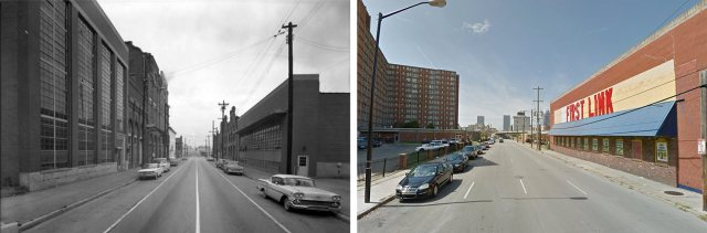 Looking west along Liberty Street in 1963 and 2015. (Courtesy UL Photo Archives - Reference; Courtesy Google)