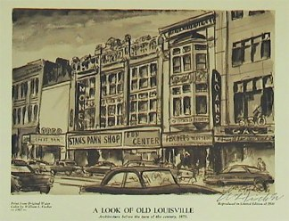 A 1967 drawing of the block by Courier-Journal staff artist Bill Fischer.
