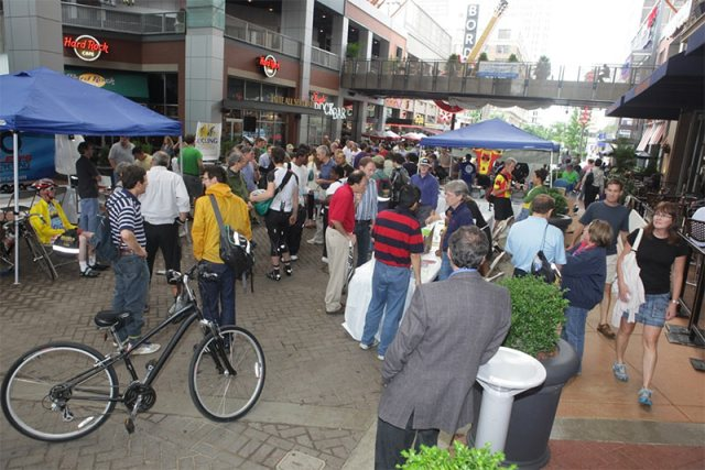 A scene from Louisville's 2010 Bike to Work Day celebration at 4th Street Live! (Courtesy Metro Louisville)