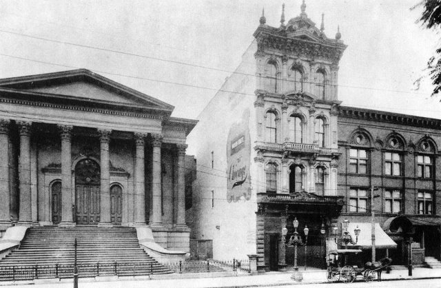 Macauley's Theater, right, before construction of the Starks Building on the site of the old First Christian Church. (Courtesy Forgotten Louisville Architecture)