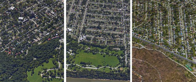 Dense walkable neighborhoods grew up around Louisville's Olmsted parks. Left to right: Cherokee Park; Shawnee Park; and Iroquois Park.