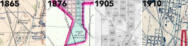 A series of maps showing how the area has changed over the decades.