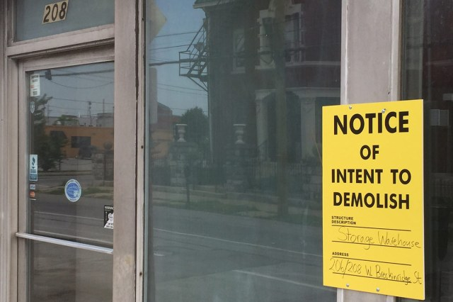 A notice of Intent to Demolish posted to the Puritan Building. (Courtesy Tipster)