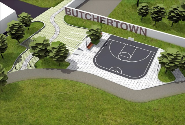 A pervious parking lot and basketball court. (Courtesy Urban Design Studio)