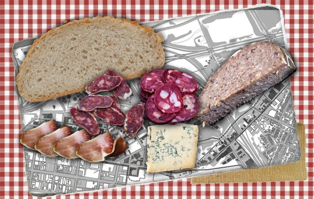 Butchertown as a charcuterie board. (Montage by Broken Sidewalk)