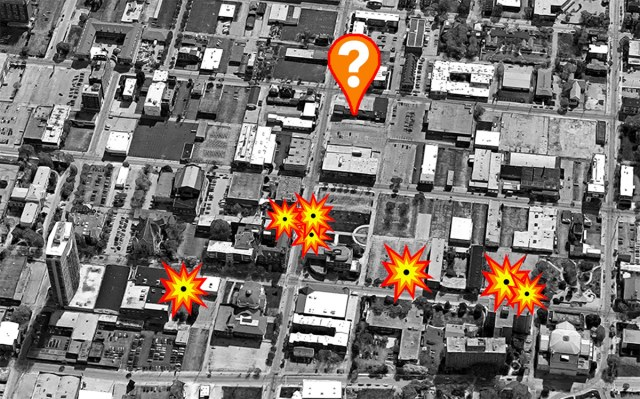 The site of seven demolitions by Spalding University in the past 30 years, and the location of a potential eighth. (Montage by Broken Sidewalk)