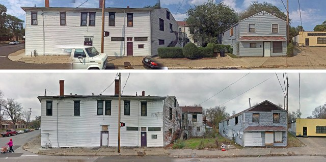 The Kentucky Street side of the property in better days just a decade ago (top) and how it appears today (above). (Google Street View)