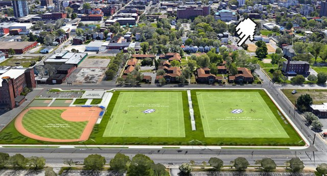 A mockup of Spalding's new playing fields in relation to the corner buildings. (Image courtesy Google; Rendering courtesy Spalding; Montage by Broken Sidewalk)