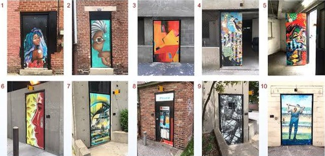 The doors add pops of color and texture to alleyways. (Courtesy Louisville Downtown Partnership)