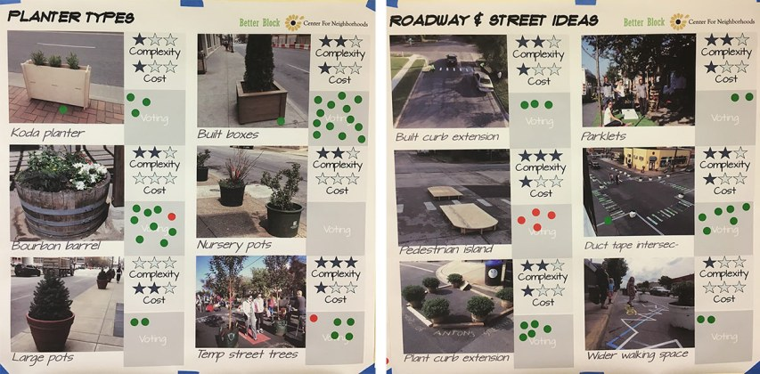 A community design workshop helped give shape to Better Block Shelby Park. (Branden Klayko / Broken Sidewalk)