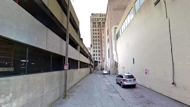 Looking down Post Office Alley toward the Starks Building. (Google Street View)
