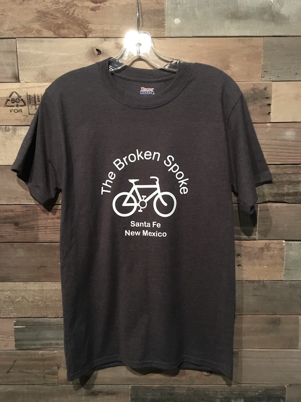 Men's Broken Spoke T Shirt Logo Front Charcoal