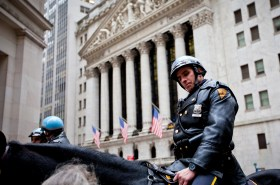"""New York, NY, United States - December 27, 2011: Mounted new York Police Department providing security outside the New york Stock Exchange."""