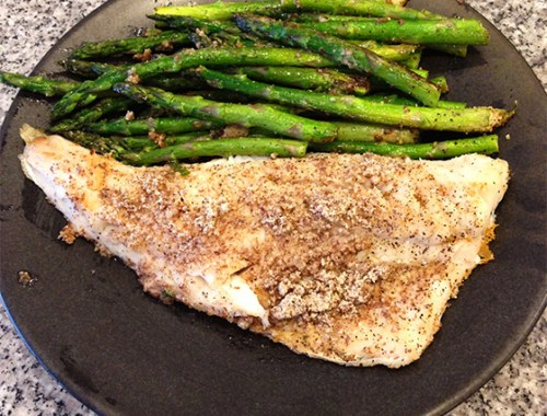Almond Crusted Walleye Pike & Asparagus