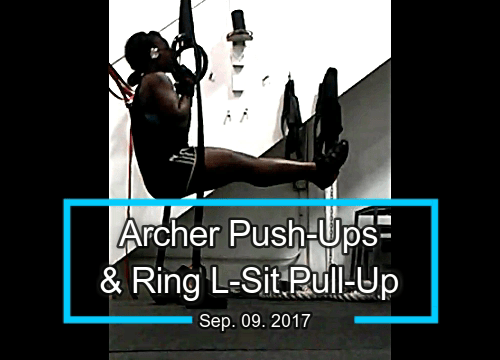 Archer Push-Ups + L-sit Pull-Ups on Rings