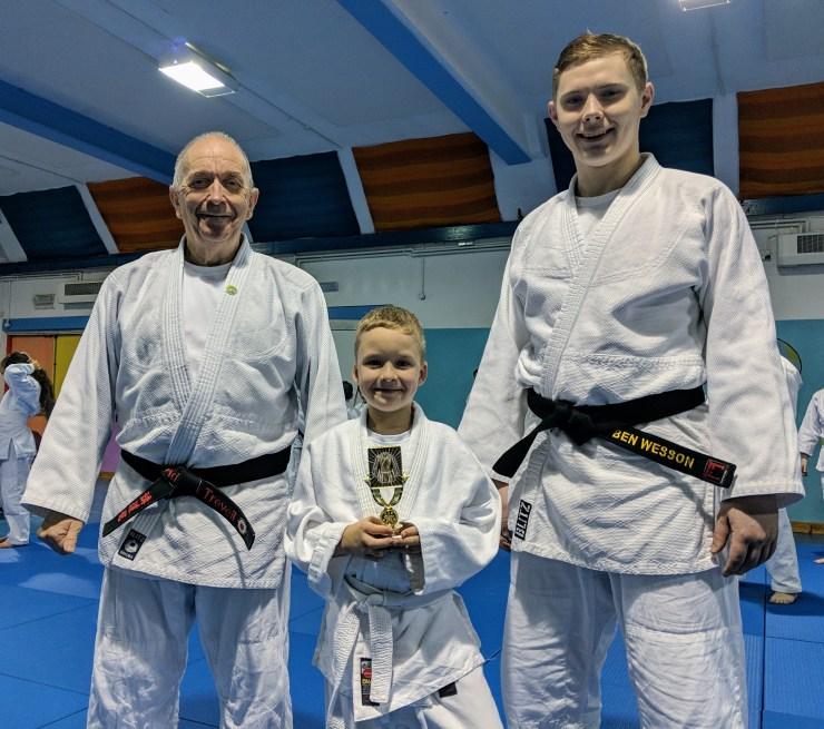 Judoka of the week winner with Sensei Adrian and Sensei Ben