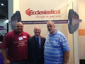 David Walton with Geoff Capes and Laurence Shahlaei (Britains Strongest Man)