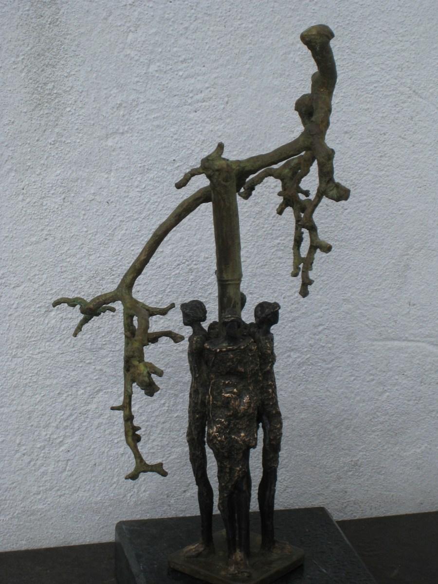 bronzen beeld, symbolisch 4 personen,unica, CONNECTED,