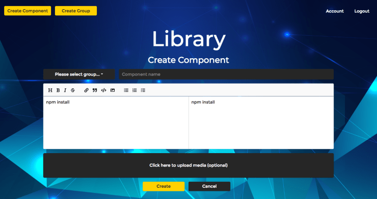React Component Library CMS Create Component