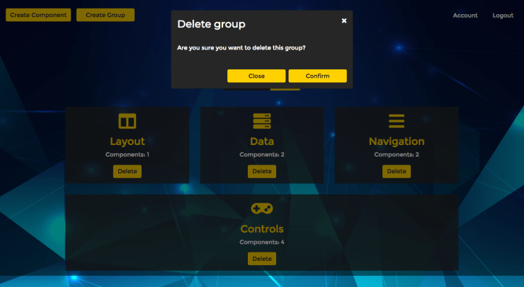 React Component Library CMS Delete Group