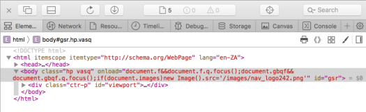 Elements option in Safari development tools