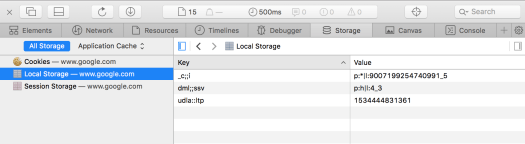 Storage option in Safari development tools