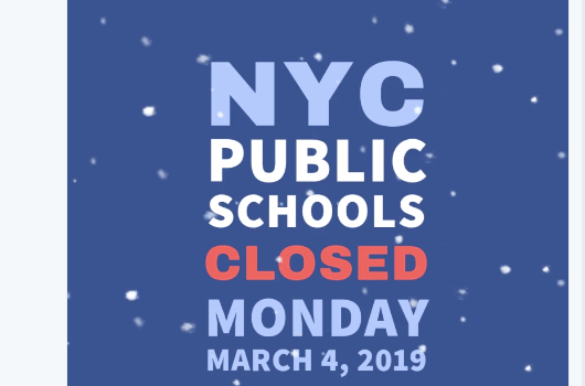 Snow Day – No School Monday, March 4th