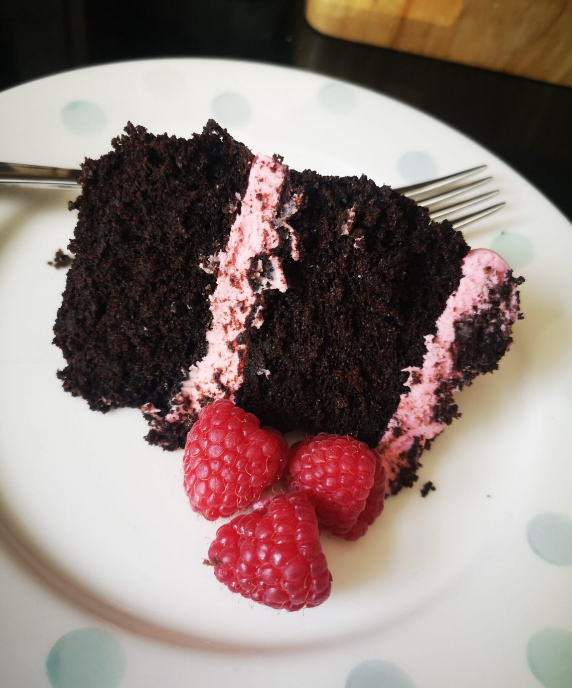Black Cocoa with Raspberry Cake