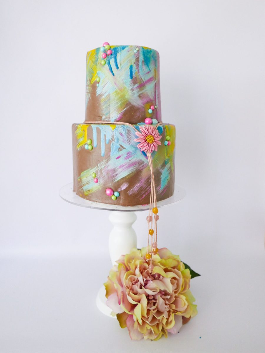 2 tier chocolate art cake with cocoa butter colour