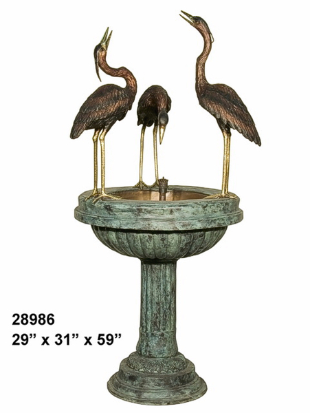 Bronze Crane Fountains