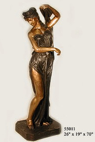 Bronze Lady with Urn Statues