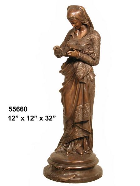 Bronze Lady Reading Statue