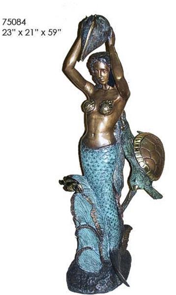 Bronze Mermaid & Turtle Statue