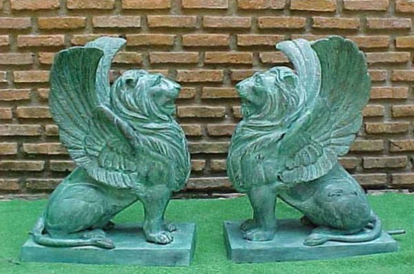 Bronze Winged Lion Fountain
