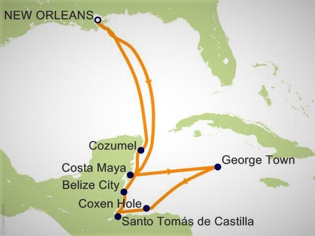 環遊世界郵輪 - 加勒比海郵輪航程圖