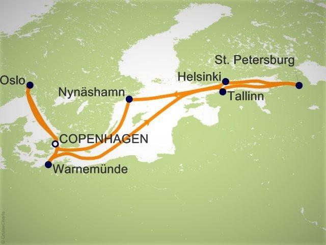 環遊世界郵輪 - 北歐郵輪航程圖