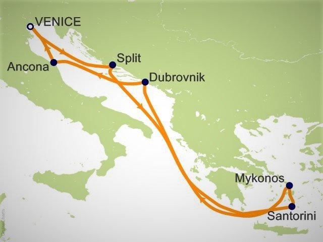 環遊世界郵輪 - 環遊世界郵輪 - 東地中海航程圖