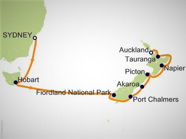 紐澳郵輪航程圖