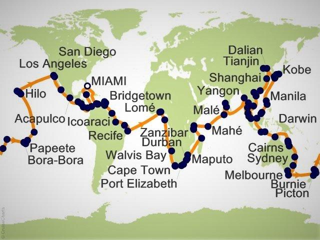 环游世界邮轮 - 环球邮轮航程地图