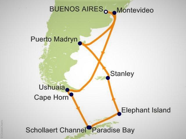 大型郵輪南美涵蓋部分南極航程圖