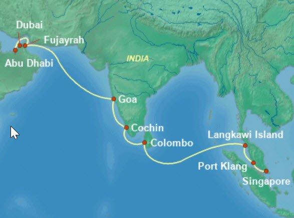 威尼斯号杜拜到新加坡航程图